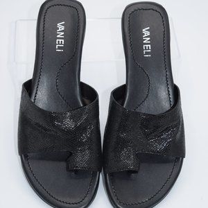 Vaneli Leather Toe Loop Slides - Tallis